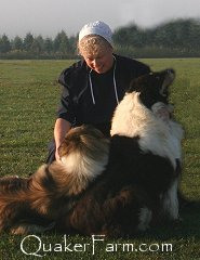 Kimberly Anne of Quaker Hill Farm with Lassie and Willow.